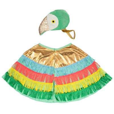 kids parrot costume featuring colorful fringey cape and glitter beak hat