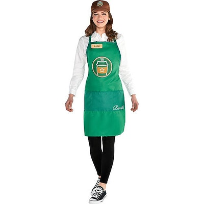 green apron and hat barista costume for adults
