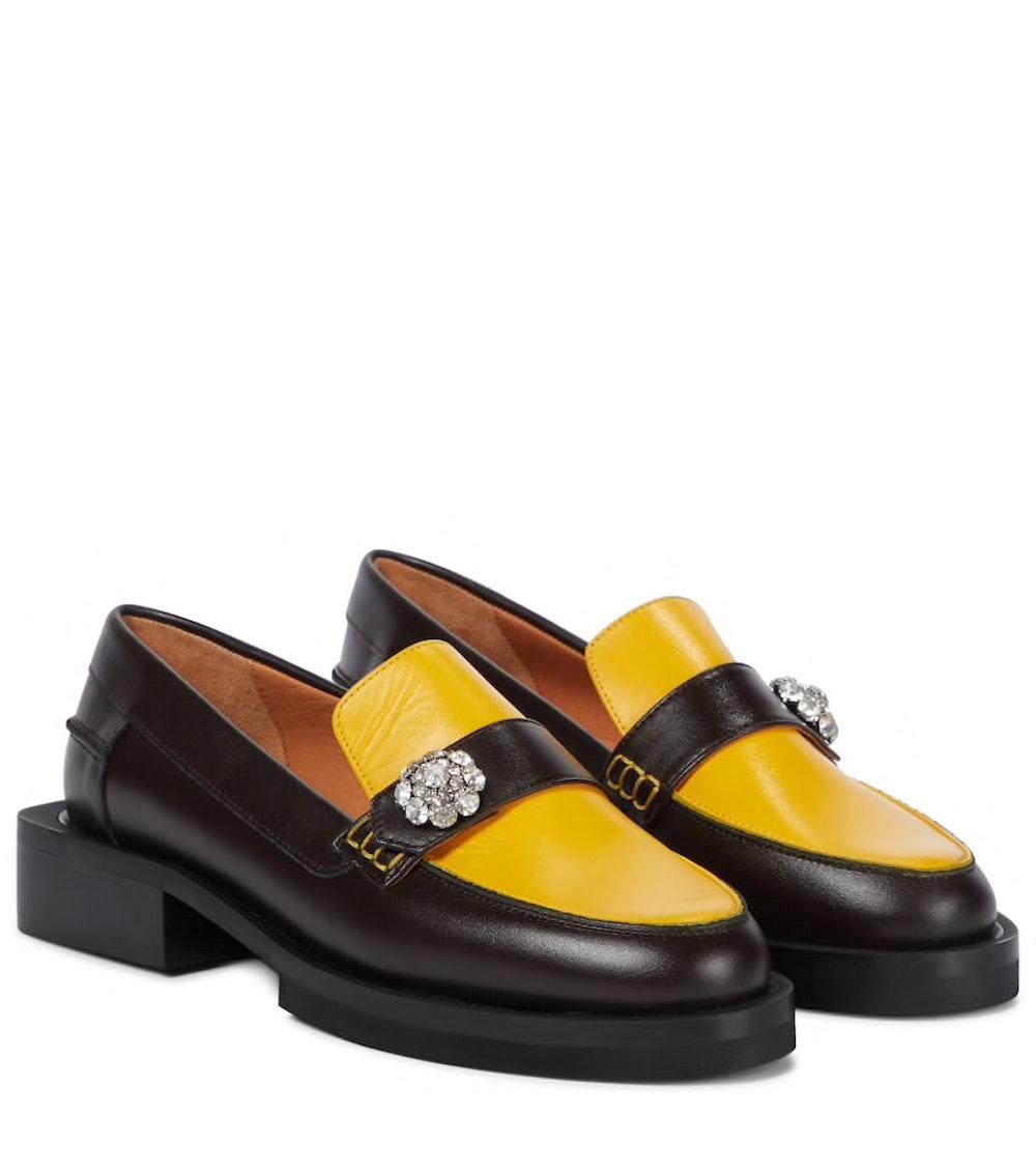 Ganni Crystal Embellished Leather Loafers