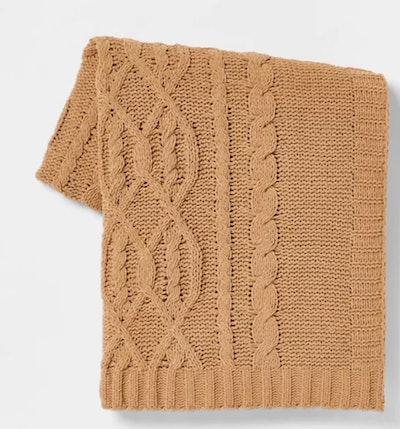 rust colored chenille cable knit throw blanket