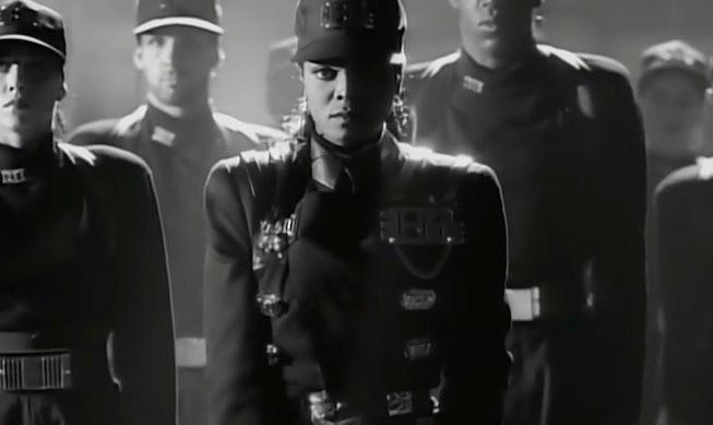 "A still from Janet Jackson's ""Rhythm Nation"" music video."
