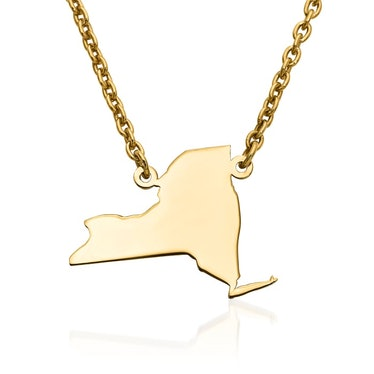 New York 14kt Yellow Gold U.S. State Necklace.