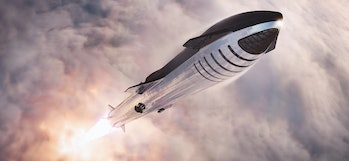 SpaceX Starship lifting off.