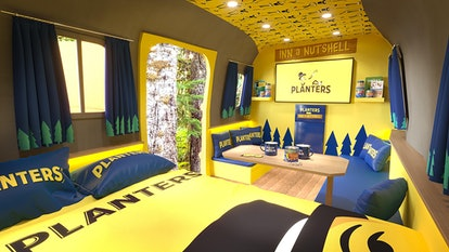 The inside of the peanut camper from Planters' Inn a Nutshell experience has a Mr. Peanut bed and to...