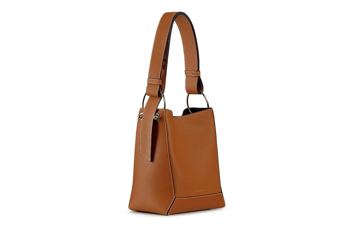 Tan Lana mini bucket bag from Strathberry.