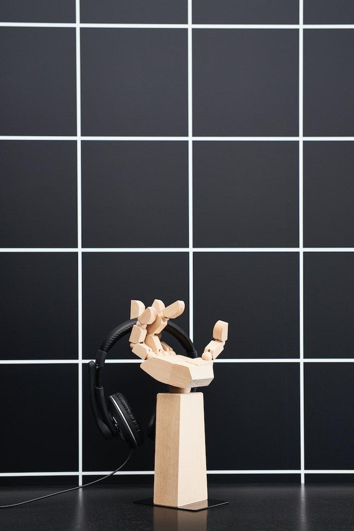 IKEA x ROG gaming furniture headphone stand hand