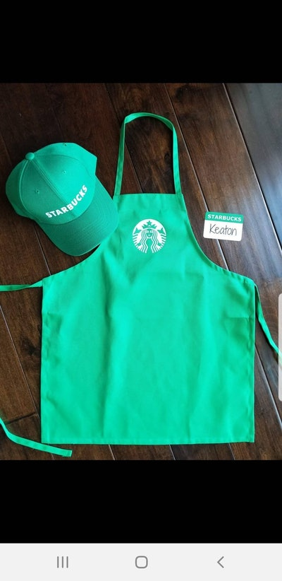 Starbucks dress-up set for kids with green apron and hat