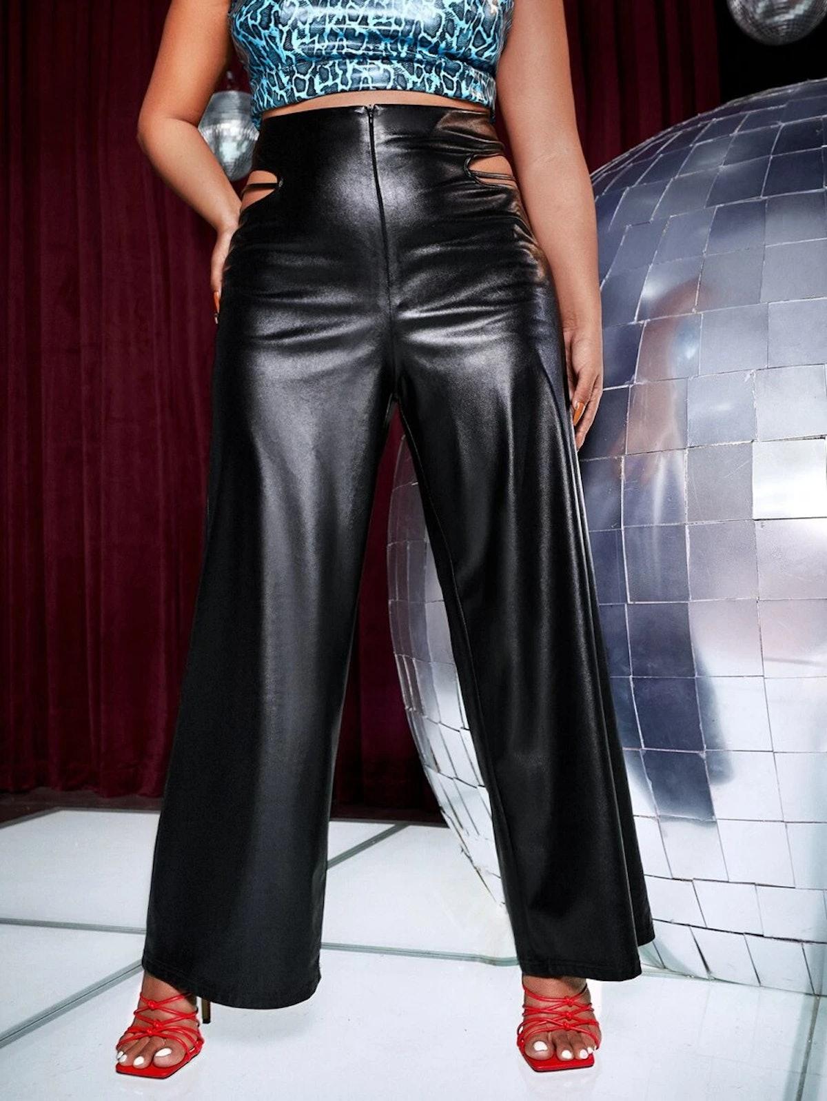 SHEIN Plus Cutout Side PU Leather Pants