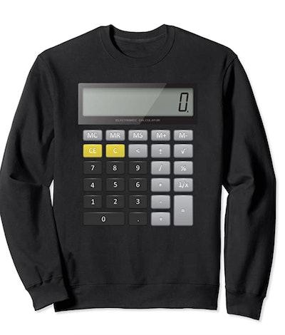 black crewneck sweatshirt with realistic calculator graphic