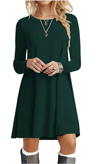 POPYOUNG Long Sleeve Casual Swing Dress
