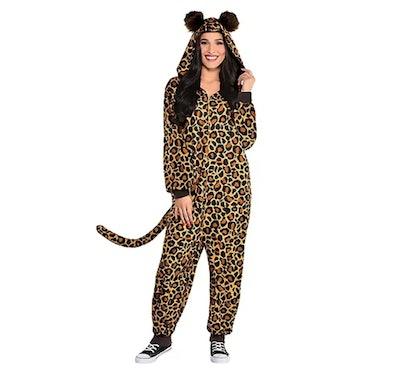 one piece fleece zip up leopard print costume for adults