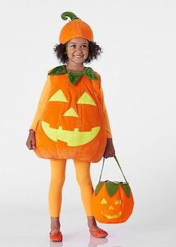 girl in glow in the dark jack o' lantern costume