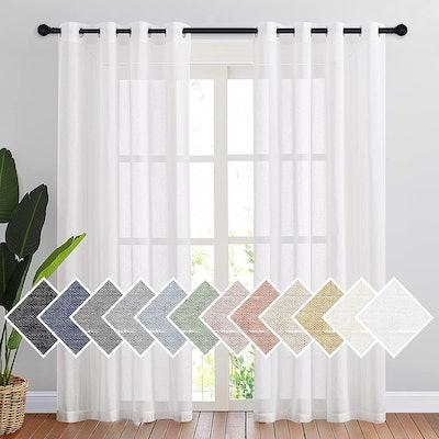 NICETOWN Sheer White Curtains