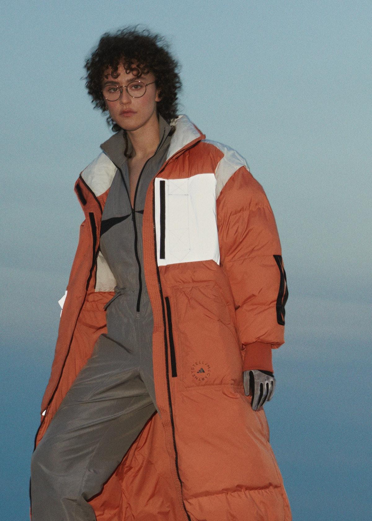 Ella Emhoff models for adidas by Stella McCartney Fall/Winter 2021 campaign.