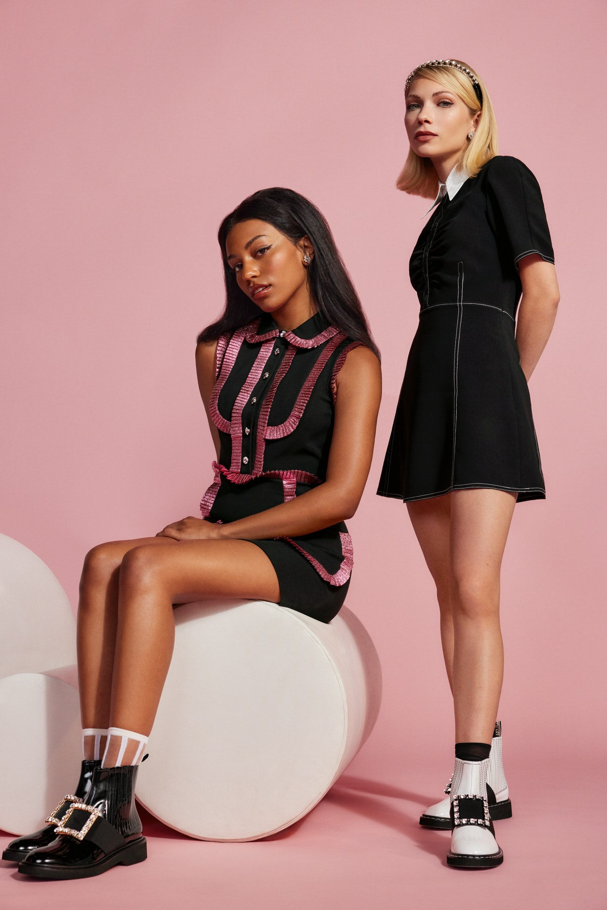 Savannah Lee Smith and Tavi Gevinson appear in Roger Vivier Fall/Winter 2021 campaign.
