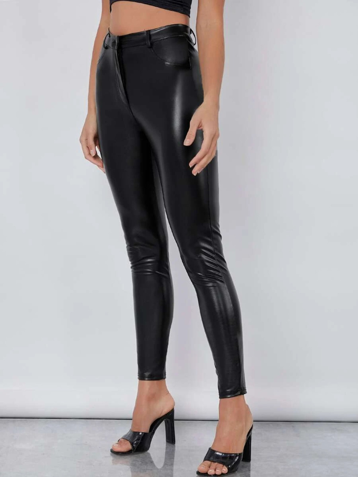 SHEIN BASICS High Waist PU Leather Skinny Pants