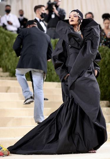 Rihanna in black coat at Met Gala