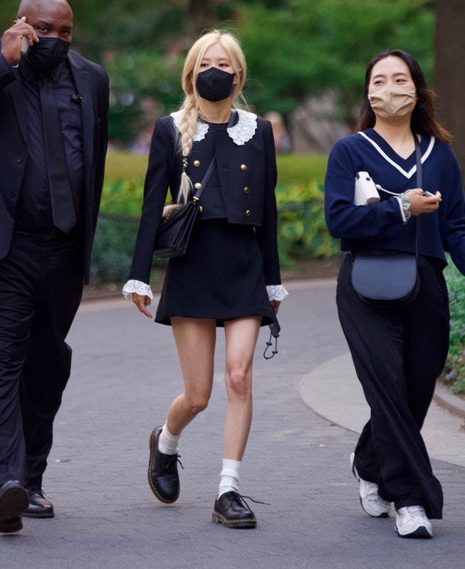Blackpink Singer Rosé spotted on set of a YSL Photoshoot in NYC's Washington Square Park.