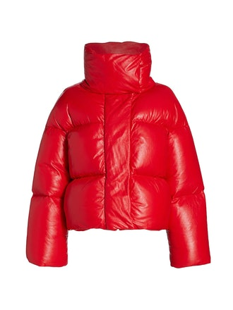 The Raphael puffer jacket in red leather from Khaite.