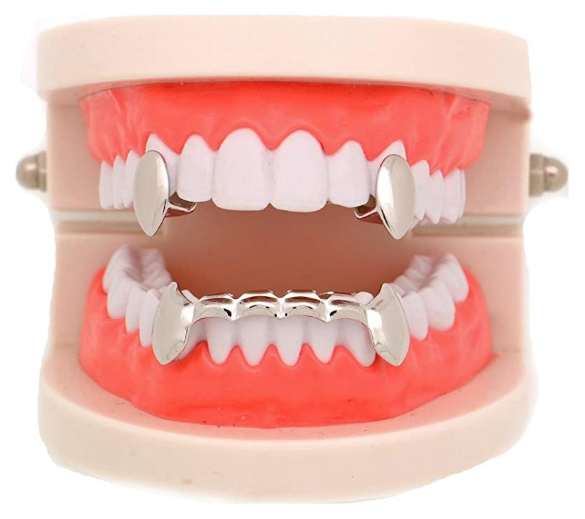 LuReen 14k Gold Vampire Dracula Teeth Grillz