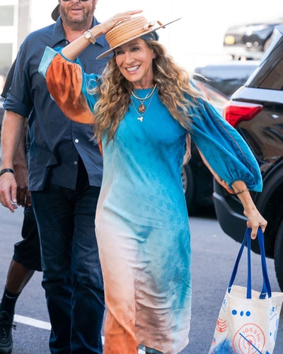 """Sarah Jessica Parker is seen filming """"And Just Like That..."""" the follow up series to """"Sex and the Ci..."""