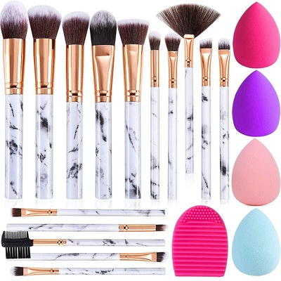 DUAIU Marble Makeup Brush Set (15-Pieces)