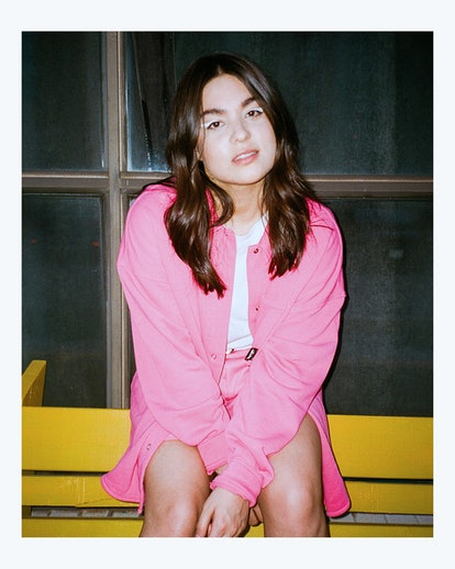 Devery Jacobs in a pink outfit
