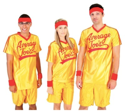 Three adults wearing Average Joes costumes