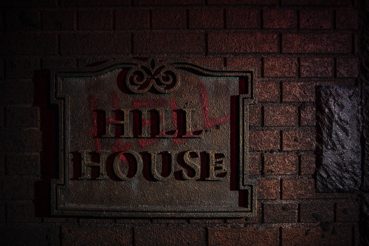 There's a Hell House sign at the 'Haunting of Hill House' haunted house at Universal Studios in Orla...