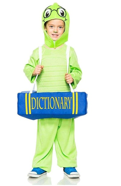 """child's green """"book worm"""" costume featuring a fuzzy worm coming out of a dictionary"""
