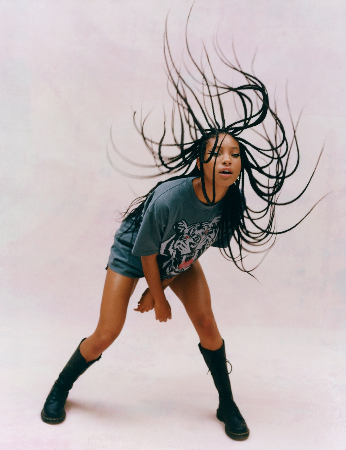 Onitsuka Tiger T-shirt; her own boots. Hair by Vernon François for Redken at the Visionaries Agency;...