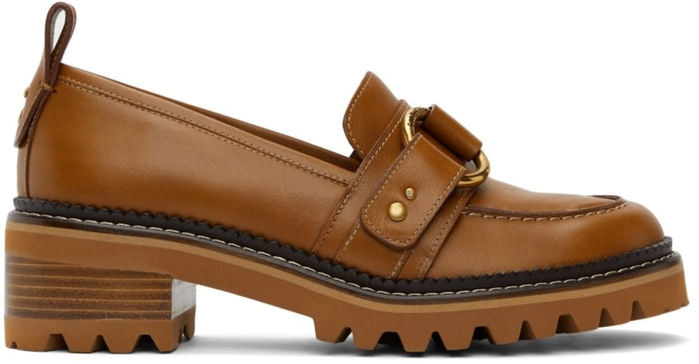 See by Chloé Brown Erine Heeled Loafers