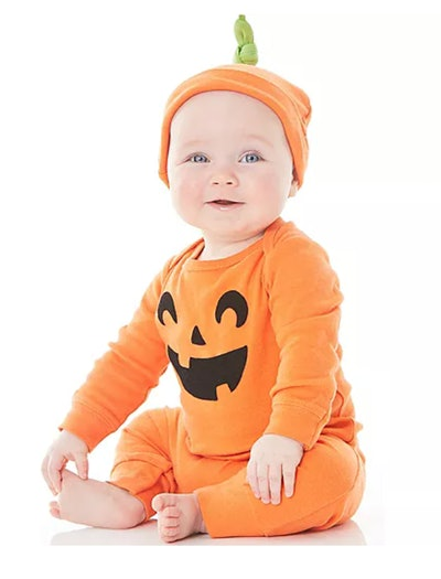 kids pumpkin costume, two pieces with hat