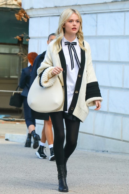 Audrey Hope defines preppy style in cardigans and bows on 'Gossip Girl.'