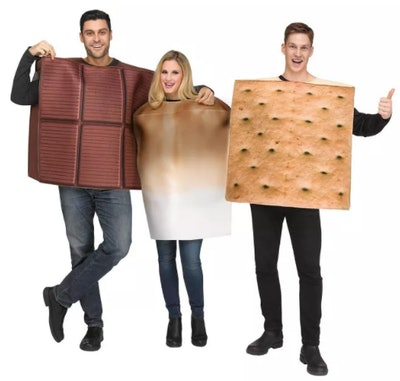 Three adults dressed as s'mores