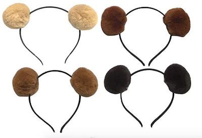 bear ears headband with soft pompom ears