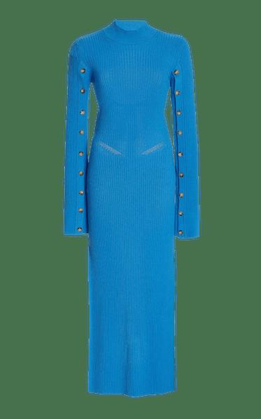 Open-Back Ribbed-Knit Maxi Dress