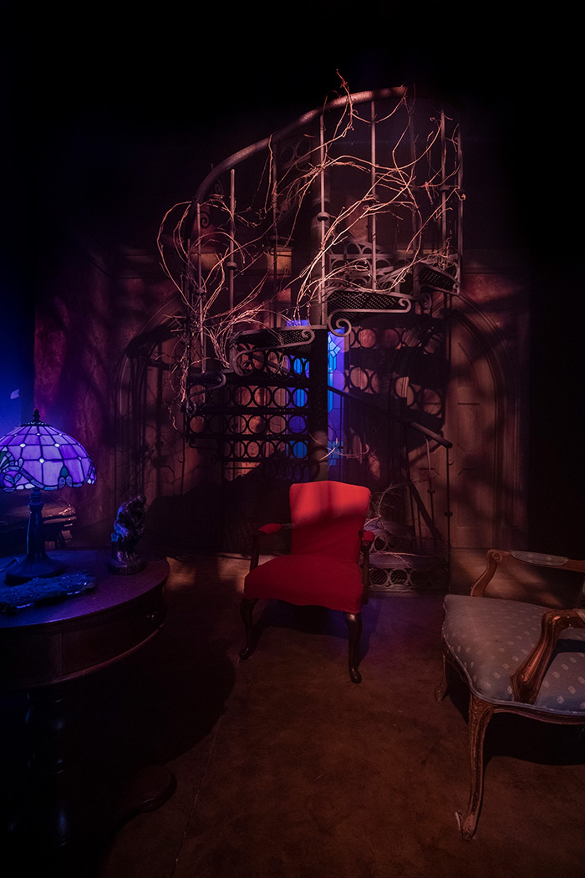 The Hill House library at Universal Studios' Halloween Horror Nights is covered in vines.