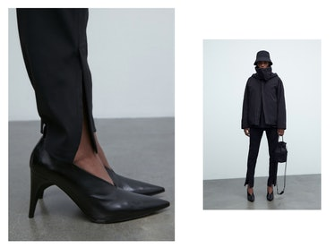 a pair of high heeled shoes and a model wearing a bucket hat and coat