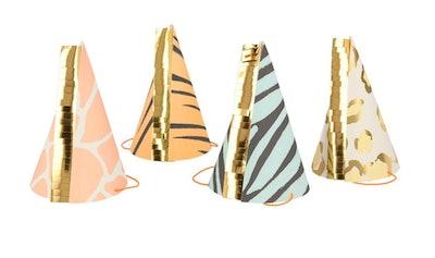 Safari Animal Print Party Hats with gold metallic fringe