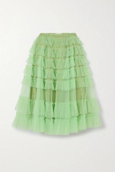 Rosa Ruffled Tulle Midi Skirt Molly Goddard