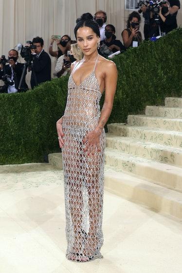 Zoe Kravitz in silver chain dress.