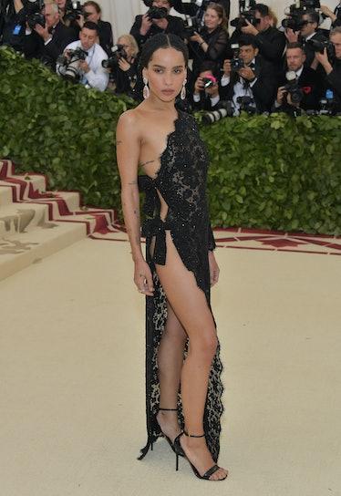 Zoe Kravitz in black lace.