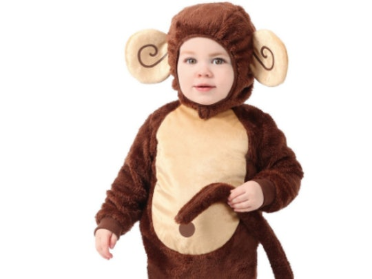 Baby boy dressed in a monkey costume