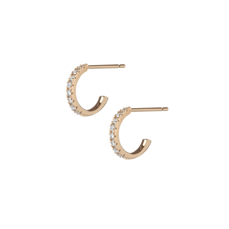 Huggie Earrings with White Diamonds