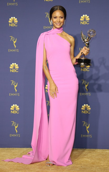 Thandie Newton poses with the Outstanding Supporting Actress in a Drama Series award for 'Westworld...
