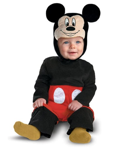 Baby wearing a Mickey Mouse costume