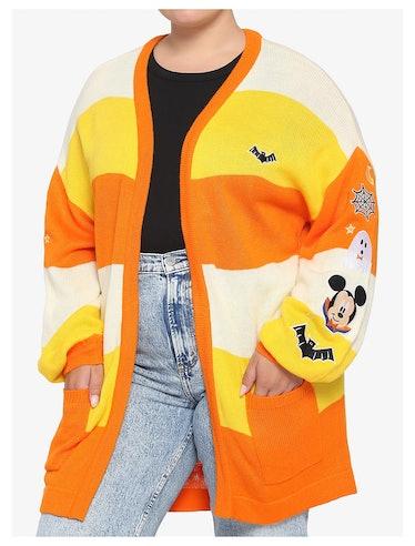 Disney Mickey Mouse Halloween Candy Corn Stripe Girls Open Cardigan Plus Size