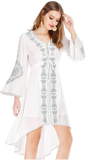 R.Vivimos Cotton Embroidered High Low Long Dress