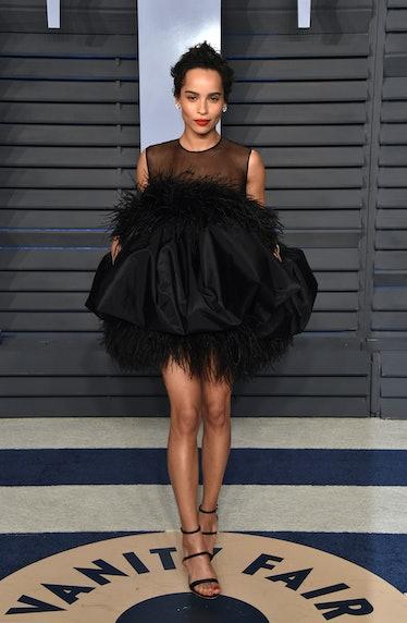 Zoe Kravitz in black puff dress.